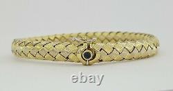 Roberto Coin 18k Gold Woven Silk Basket Weave Flexible Bangle Bracelet 20 Grams