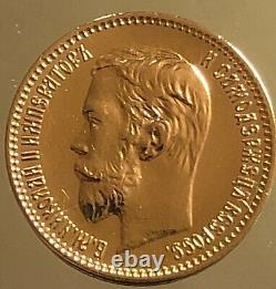 Russian 5 Rube 1901 Zer Nikolaus II 4,30 Grams 900 Gold UNC