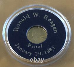 SOLID 24 KT GOLD COIN Ronald Reagan Proof 1981 0.3 Grams 100% Uncirculated