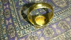 Solid 14k gold ring with 22k mexican coin 11.74 grams size 10.75 stamped