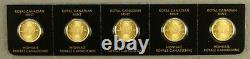 Strip of (5) 2021 Canada 1 Gram. 9999 Gold Maple Leaf Coins From Maplegram Sheet