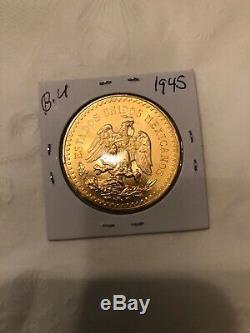 Stunning 1945 Mexico 50 Pesos Solid Gold Coin 37.5 Grams Uncirculated Rare Bu
