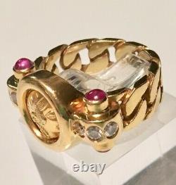 Unisex Greek 18kt Yellowgold Coindiamondrubyhandmade Ring 10 Gramssz5 1/2