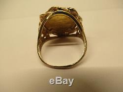 VTG 14 K Yellow Gold 1995 AU 1/20 oz. 999 Panda Coin Ring Size 6.75 5.1 grams