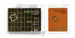 Valcambi Suisse 50x1 Gram Gold CombiBar with Assay Card. 9999 fine