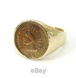Vintage 14K GOLD 1905 Indian Penny, Cent Coin Ring Size 11 16.9 GRAMS, Unique