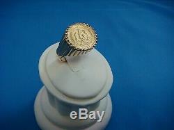 Vintage 14k Yellow Gold Men's Dos Pesos 1945 Coin Ring, 11.9 Grams, Size 10.75