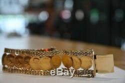 Vintage 18K & 21K Gold 13 Mexican Coins 1945 2 PESOS Bangle Bracelet 83.9 Grams