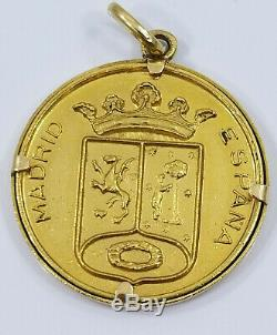 Vintage 18K Gold LA CIBELES MADRIS SPAIN COIN Charm 8.8grams