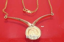 Vintage 1945 DOS PESOS 22K GOLD COIN 14K YELLOW GOLD Necklace 5.6 Grams Ladies