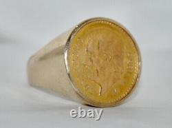 Vintage 22K Mexican 1955 Cinco Pesos Gold Coin 14K Ring 13.16 Grams Size 8 1/4