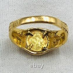 Vintage 22K Solid Yellow Gold Ring With Small Gold Coin 4.8 Grams Size 7.5