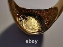Vintage Men's 14k Gold US 1 Dollar Gold Coin Size 10.25, 9 grams 1/3 CT diamonds