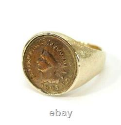 Vintage Mens 14K GOLD 1905 Indian Penny, Cent Coin Ring Size 11 16.9 GRAMS