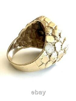 Vintage Mens Gold Nugget Ring 14K With 999.9 Pure Gold Coin 13.3 Grams Size 9.5