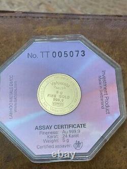 Vintage Valcambi Suisse 5 grams. 999 Gold Rose Coin Sealed Assay Case Rare