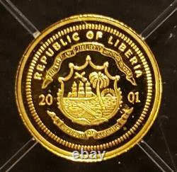WORLD'S SMALLEST GOLD COIN, Liberia Gold 24K Pure Gold Coins. 73 Gram & COA. MLK