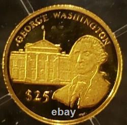 WORLD'S SMALLEST GOLD COIN, Liberia Gold 24K Pure Gold Coins. 73 Gram & COA. RARE