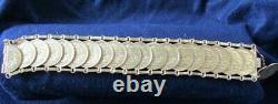 YELLOW GOLD 1907-1914 ENGLISH SOVEREIGN 20 COIN BRACELET 24k 97.9 GRAMS 7