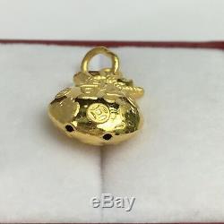 Zodiac 24K Solid Gold 3D Lucky Money Coin bag Charm/ Pendant, 2.48 Grams